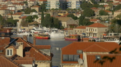 Colorful and white boats moored on the seafront in Dubrovnik, Croatia Stock Footage