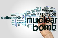Nuclear bomb word cloud - stock photo