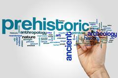 Prehistoric word cloud Stock Photos