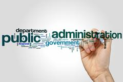 Public administration word cloud Stock Photos