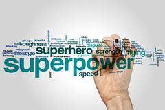 Superpower word cloud - stock photo