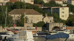 Velika Gospa seen from across the harbor in Dubrovnik, Croatia Stock Footage