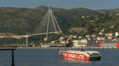 Parasailing boat moored close to Tudjman Bridge in Dubrovnik, Croatia Stock Footage