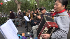 Traditional music concert in public park Hangzhou, China - stock footage