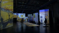 Chinese exhibition of Vincent van Gogh paintings on large screens in Hangzhou Stock Footage