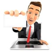 3d businessman coming out of laptop with a business card Stock Illustration