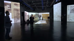 China art gallery, people visit Vincent van Gogh exhibition in Hangzhou - stock footage