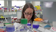 Medical research scientist in laboratory Stock Footage