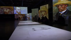 China art exhibition, Dutch master Van Gogh paintings, interactive experience Stock Footage