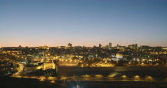 Night time lapse of the temple mount in the old city of Jerusalem Stock Footage