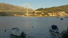 Franjo Tudjman Bridge seen at sunset in Dubrovnik, Croatia Stock Footage