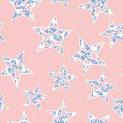 Vector seamless colorful stars pattern. Rose Quartz and Serenity colors - stock illustration