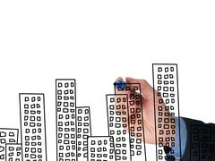 Business man hand drawing apartments on visual screen - stock photo