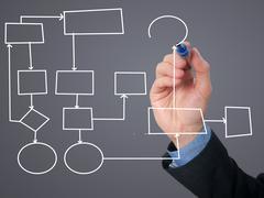 Businessman Hand drawing empty diagram - stock photo