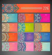 Stock Illustration of Calendar with mandalas