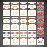 Calendar with mandalas - stock illustration