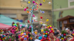 Lots of ornaments as flowers on the festival Stock Footage