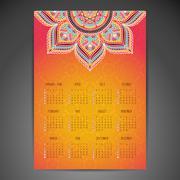 Calendar with mandalas Stock Illustration
