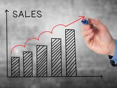 Businessman hand drawing Sales Growth Graph with marker on transparent wipe b Stock Photos
