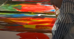 Family Master Class Opole Art Gallery Boys Painting With Colorful Paints Art Stock Footage
