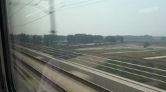 View out of the window of a high speed bullet train in China - stock footage