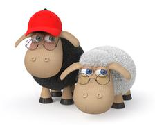 3d ridiculous sheep wearing spectacles - stock illustration