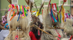 Kurents are the main mask at this festival Stock Footage