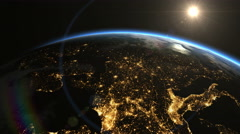 Europe from space. Sunrise. Earth From Space. Stock Footage