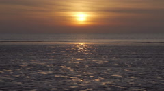 Sun Setting Behind The Most Perfect Sandy Beach Stock Footage