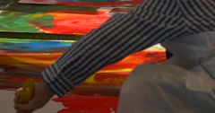Kids Boys Are Painting With Colorful Paints Art Gallery People Paint in Stock Footage