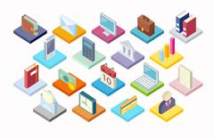 Set of Business Icon Isometry 3d Design Stock Illustration