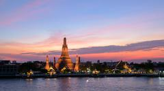 Wat Arun Temple in sunset at bangkok Thailand . - stock photo