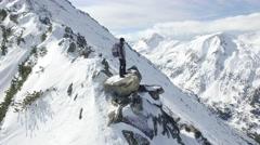 Beautiful Winter Mountain Landscape Man Standing On Top Of Rock Peak Success Stock Footage