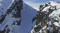 Aerial Flight Over Alpine Mountain Top Travel Winter Landscape Panorama Scenic Stock Footage