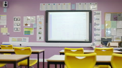 4K Interior view of school classroom. No people Stock Footage
