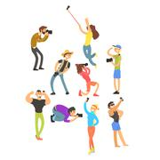 People Posing while Photographer Taking Photos. Vector Illustration Set - stock illustration