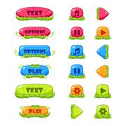 Fruitey Cartoon Buttons, Vector Set - stock illustration