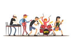 Musicians on a Concert. Vector Illustration Stock Illustration