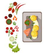 Stock Illustration of Grilled Salmon on Plate. Vector Illustration