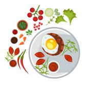 Grilled Steak with an Egg on Plate. Vector Illustration Stock Illustration