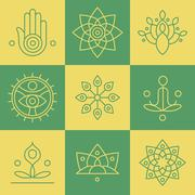 Vector yoga icons and line badges, graphic design elements - stock illustration
