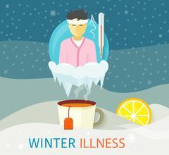Winter Illness Season People Design Stock Illustration