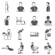 Spine Diseases Black Icons Stock Illustration