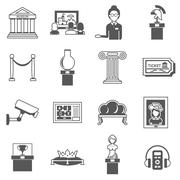 Museum Decorative Black Icons Set Stock Illustration