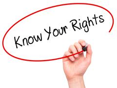 Man Hand writing Know Your Rights with black marker on visual screen Stock Photos