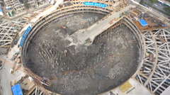 Construction pit of a new skyscraper in Wuhan, China - stock footage