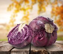 Purple cabbage on table Stock Photos