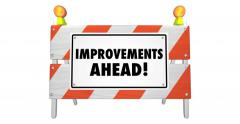 Improvements Ahead Road Construction Sign Barrier 4K Stock Footage