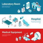 Stock Illustration of Hospital Medical Equipment Flat Banners Set