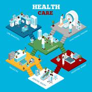 Hospital Healthcare Departments Isometric Composition Poster - stock illustration